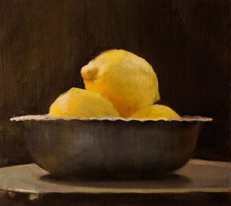 Lemones, 2013, oil on canvas mounted on wood, 26x28