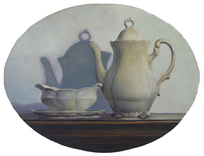 Coffe pot- composition, 2011, oil on canvas mountrd on wood, 41x53