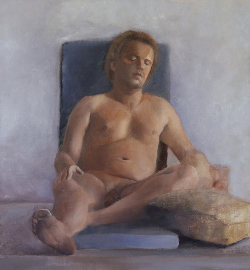 Sitting figure, 2011, oil on canvas mounted on wood, 54x50
