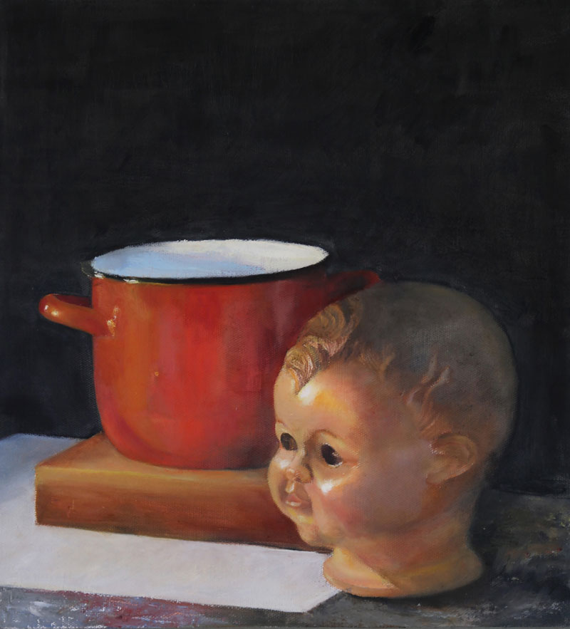 Doll's head, 2013, oil on canvas mounted on wood,  39x35
