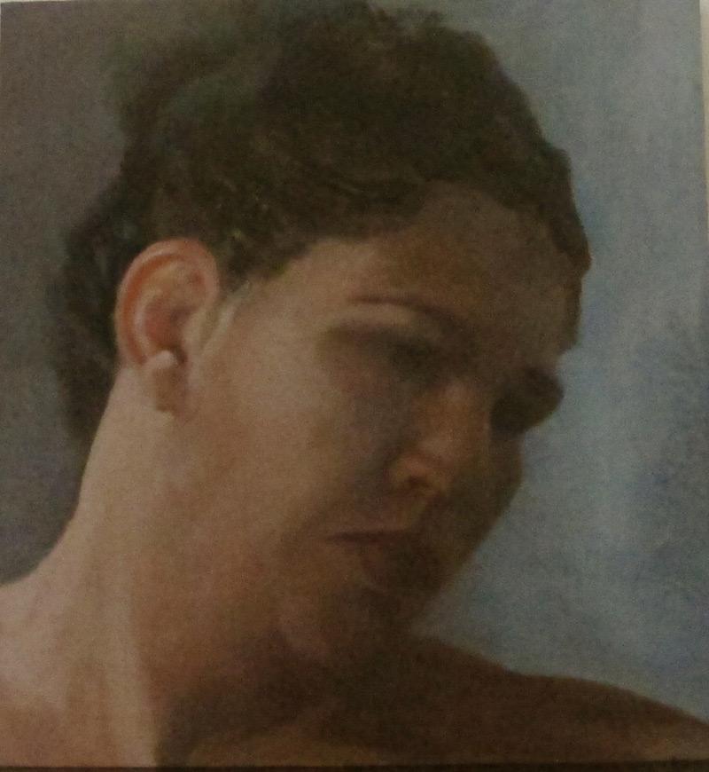 Sad look,  2013, oil on canvas mounted on wood, 28x26