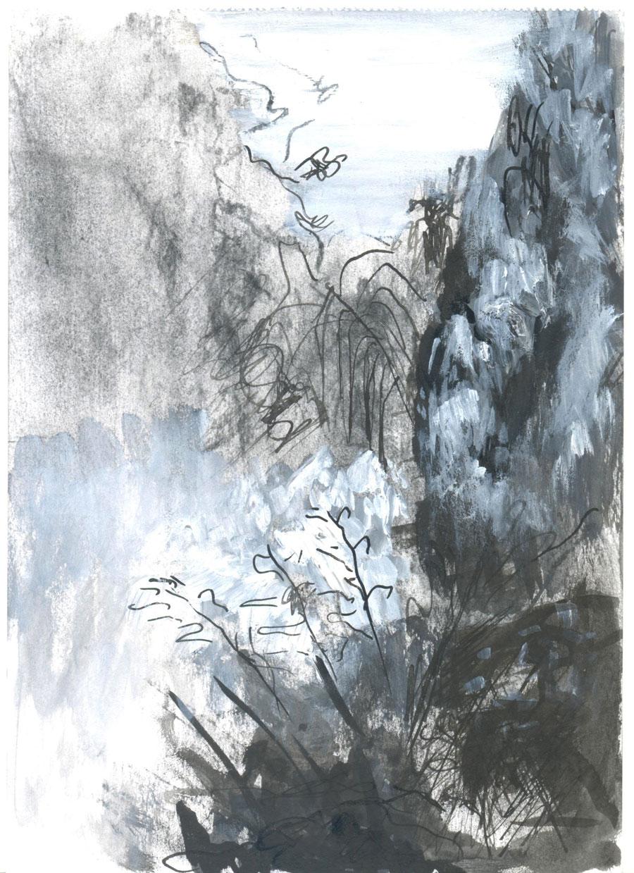 Landscape ,2010, Ink on paper, 22x16