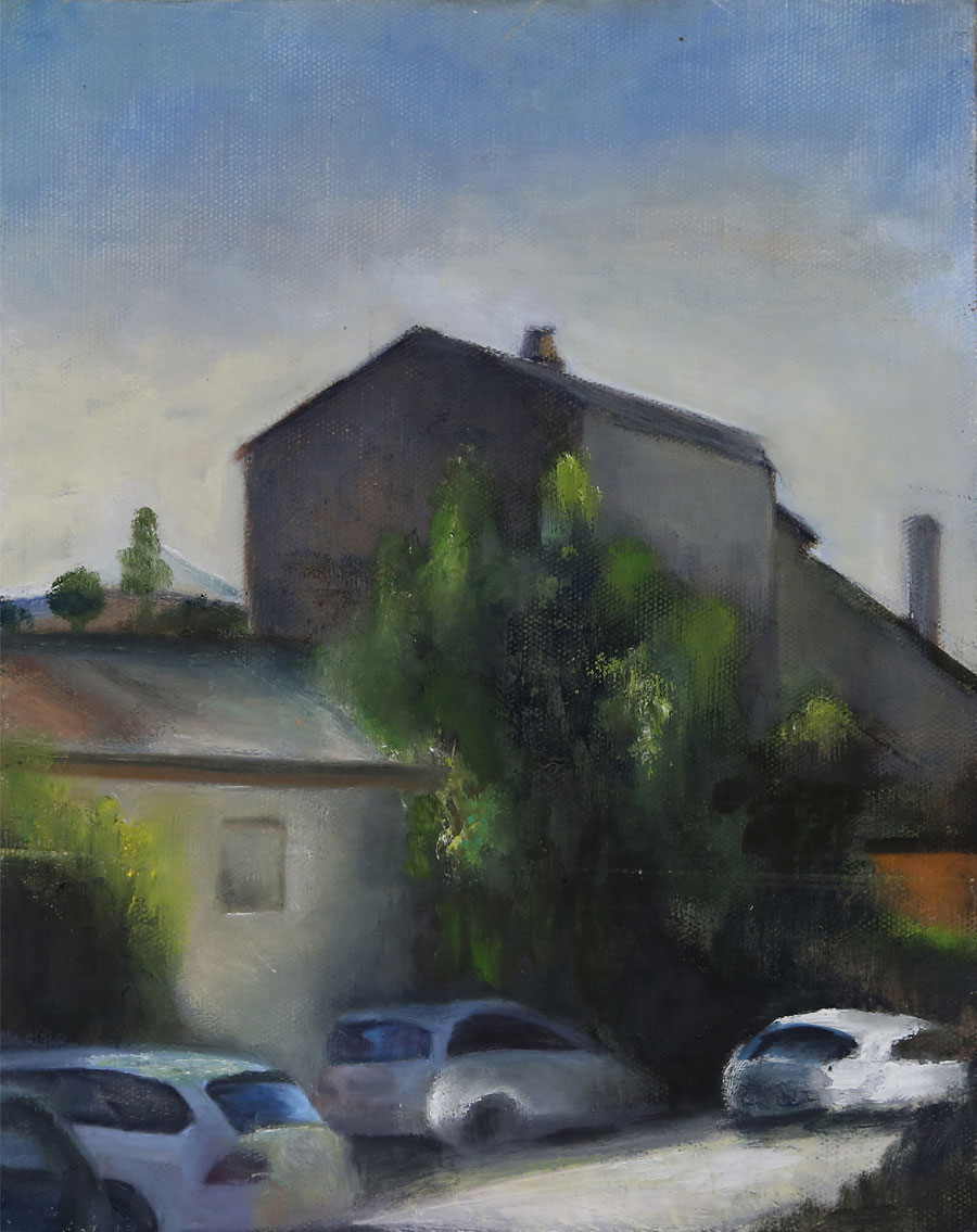 Landscape, 2013, Oil on paper mounted on wood, 31x24